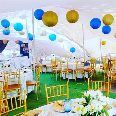 Stretch tent African traditional wedding decor (Gold and
