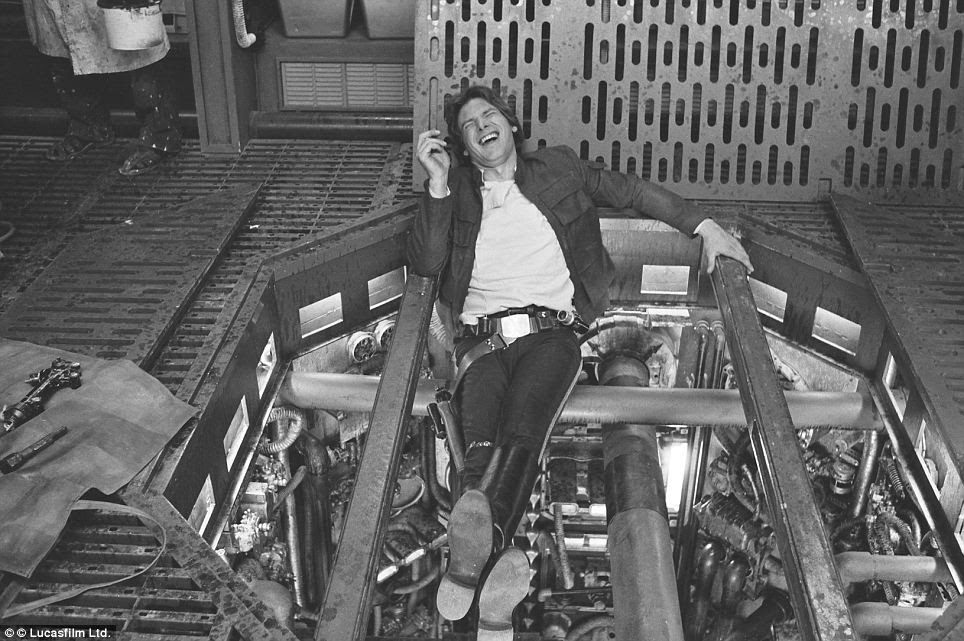 Great kid, don't get cocky: Harrison Ford, who played smuggler turned freedom fighter Han Solo in the films enjoying a funny break from filming