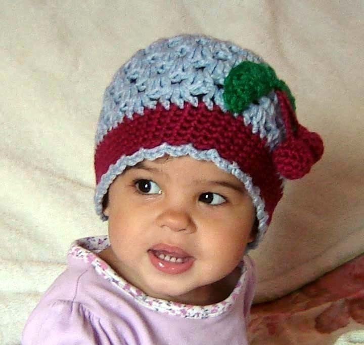 PDF Cherry or Rose Scalloped Beanie CROCHET PATTERN No041 All sizes Baby Toddler Child Teen Adult