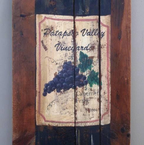 Upcycled Ironing Board, Painted Wine Bottle