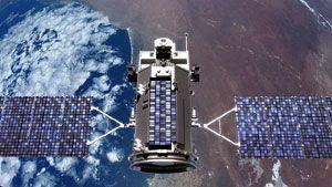 An art concept of NASA's GLORY spacecraft in Earth orbit.