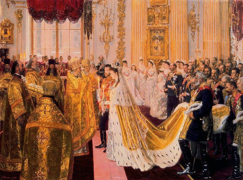 Wedding of Tsar Nicholas II of Russia and the Princess Alix of Hesse-Darmstadt. Painting by Laurits Tuxen