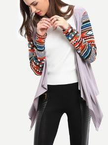 Grey Geometric Print Drape Front Knit Cardigan