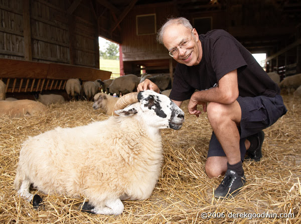 "Peter Singer, atheistic professor of ""Ethics"" at Princeton University - pictured here with a strapping, healthy, strong young ram - approves of bestiality and has stated that, ""I don't have intrinsic moral taboos."" Photo: Derek Goodwin."