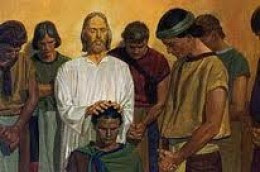 Nephi number three being ordained by Jesus