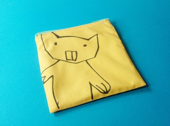 Recycled pouch funny yellow gnawer