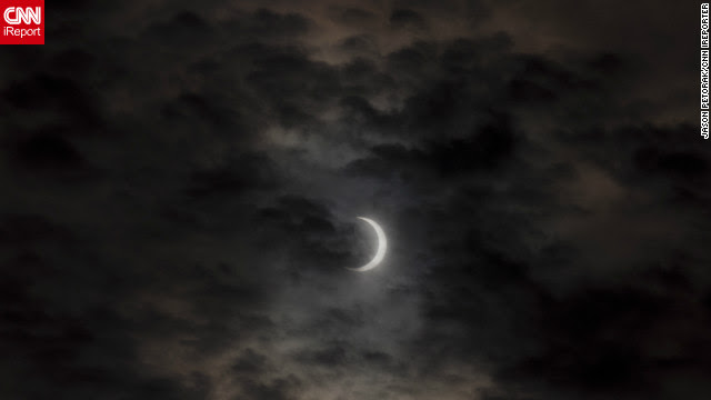 A slightly overcast sky in Eugene, Oregon provided a dramatic backdrop to the eclipse.