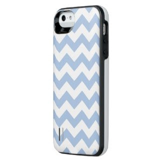 Light Blue and White Zigzag Uncommon Power Gallery™ iPhone 5 Battery Case