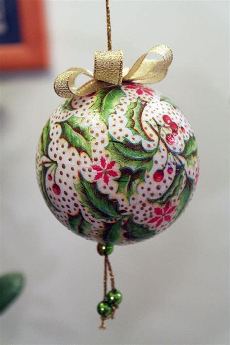 Decoupage Christmas Ball Bauble Decoration for by
