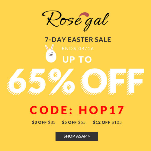 """Rosegal Easter Flash Sale: UP to 65% OFF, save more with COUPON """"HOP17""""and FREE SHIPPING"""
