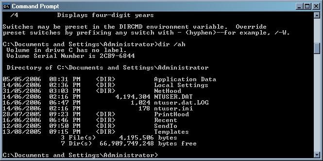 find hidden files and folders command prompt