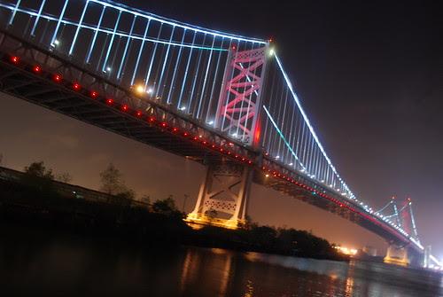 Ben Franklin Bridge by night