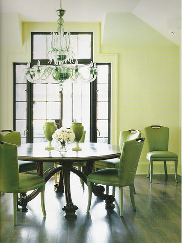 Green dining room: Round table + green upholstered chairs + pale ...