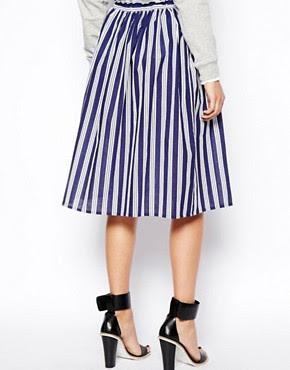Image 2 ofASOS Woven Midi Skirt in Stripe