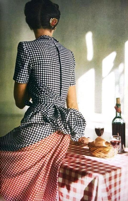 Vogue US May 1944 Black, white and red checked dress by Adrian Photo by John Rawlings