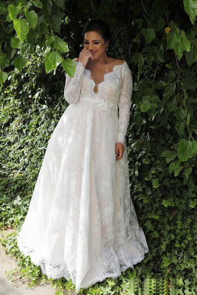 Discount Garden A Line Empire Waist Lace Plus Size Wedding
