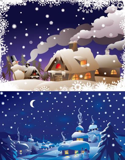 冬の雪景色家雪山のイラストaieps ベクタークラブ