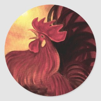 Chicken Farm Red Rooster Painting - Multi Stickers