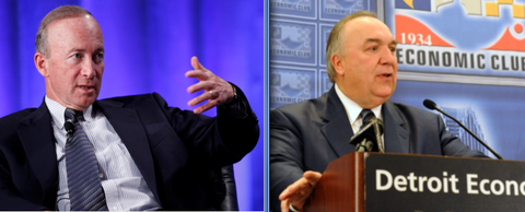Mitch Daniels, president of Purdue University, left, and John Engler, president of the Business Roundtable.