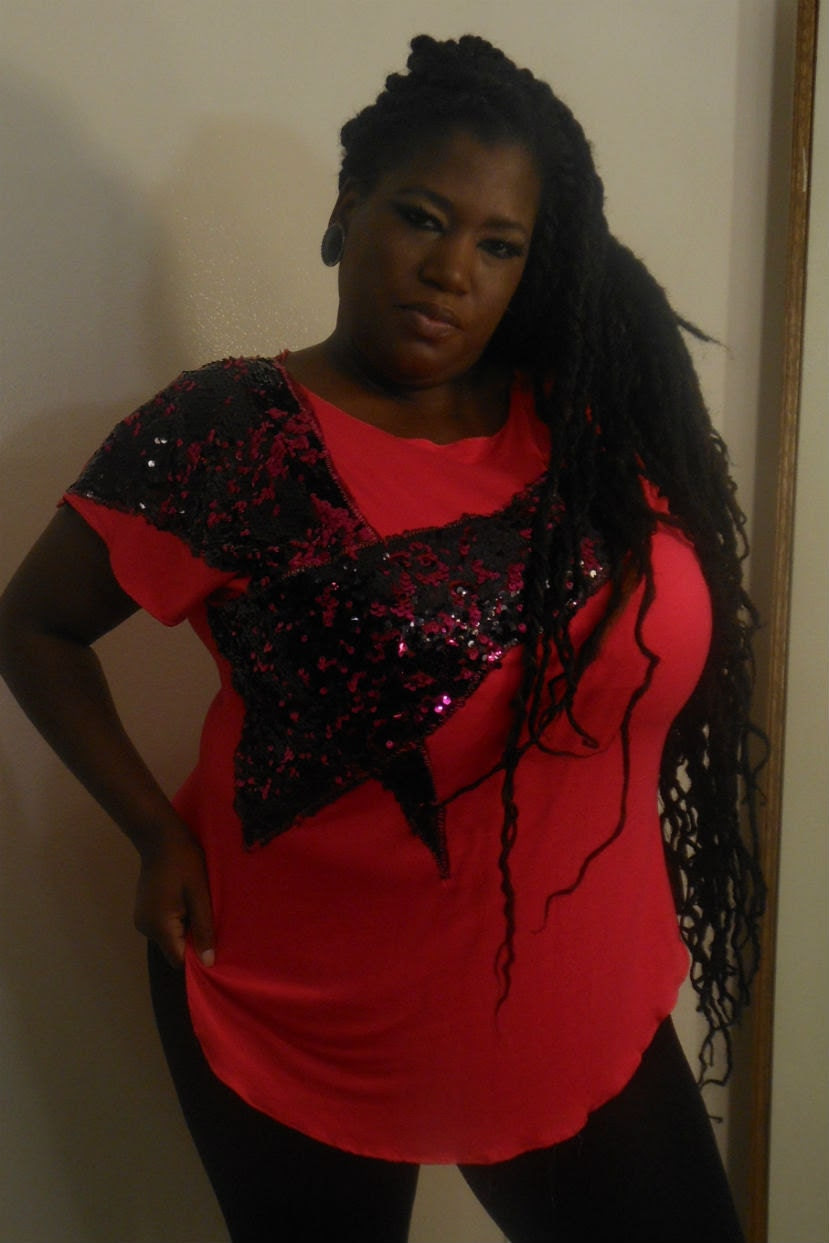 Sha Sha - Posh N Petals Knit Fuschia Pink with Black and Pink Sequin  Embellished Blouse XL - 1 X  - 2X Plus Size