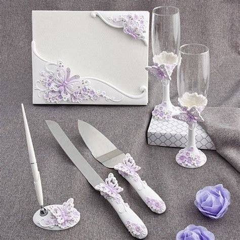 Butterfly Set Guest Book Pen Toasting Flutes Cake Knife