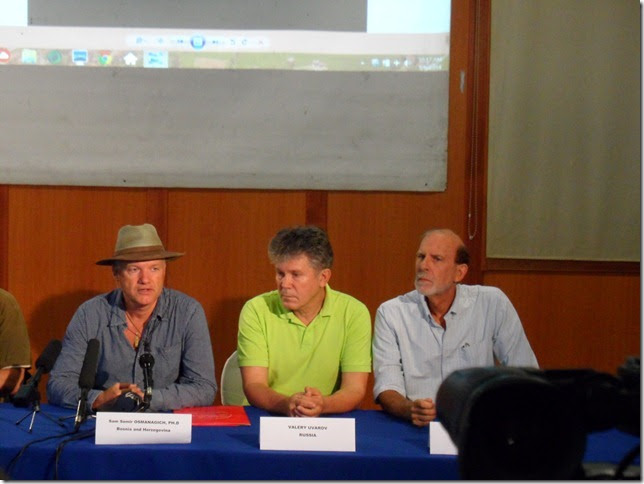 Right end of the press conference table showing Dr. Osmanagich, Vellery Uvarov, and myself.