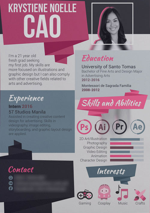 Flat Girly Creative Resume Template