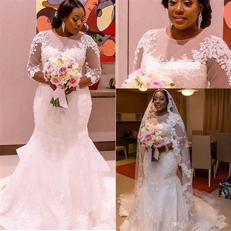 New African Zambia Mermaid Plus Size Wedding Dresses 3/4