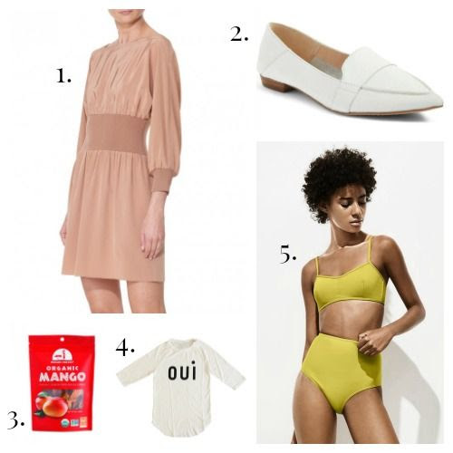 Tibi Dress - Vince Camuto Loafers - Mavuno Harvest Dried Fruit - Clare V. Tee - Her. Swimsuit