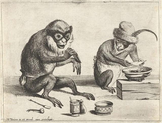 Een aap legt een verband aan, Quirin Boel, 1635