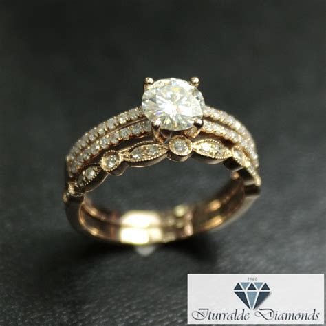 Round Cut Moissanite Split Shank Diamond Pave Engagement