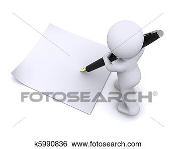 Stock Photo - little 3d character  write a card with  big pen. fotosearch  - search stock  photos, pictures,  wall murals, images,  and photo clipart