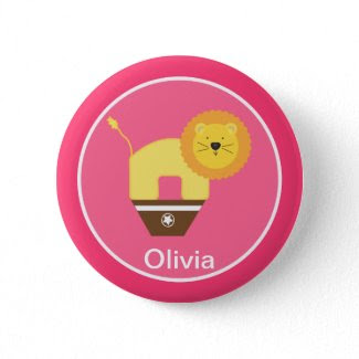 Pink Personalized Circus Birthday Button zazzle_button