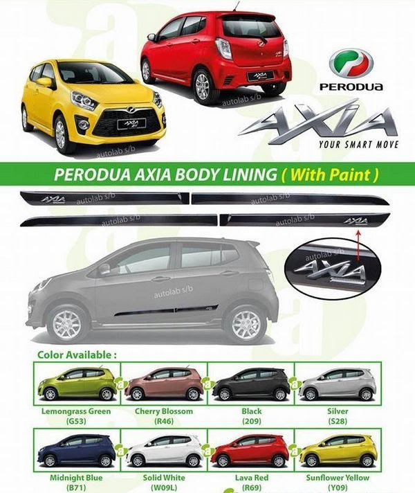 Buy PERODUA AXIA OEM Side Moulding Body Lining with Paint