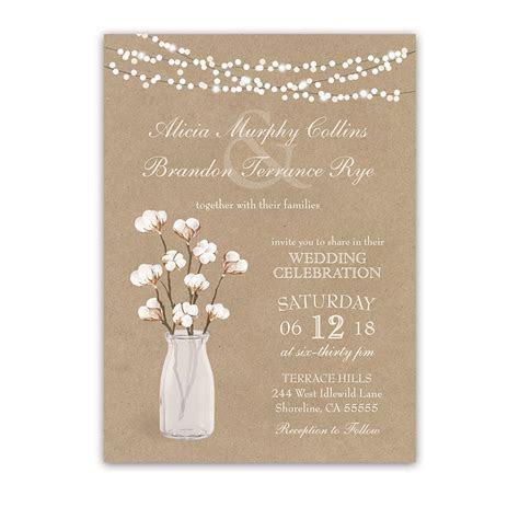 Rustic Kraft Paper Wedding Invitation Cotton Branches