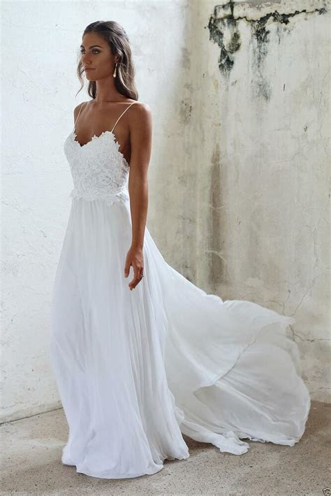 Sexy Backless Spaghetti Beach Wedding Dress Lace Chiffon