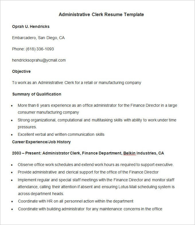 Administration Resume Template 34 Free Samples
