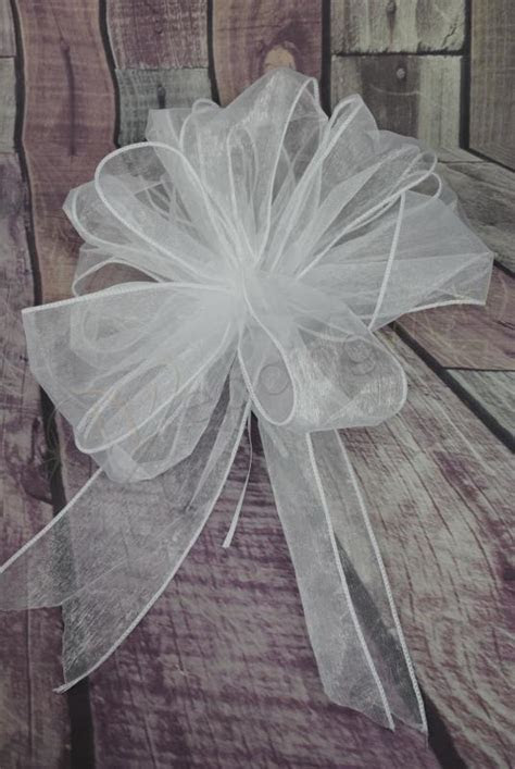 Wedding Large White Organza Pull String Pew Bows x 12
