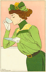 Henri Meunier, Spring Fashion Postcard, 1900