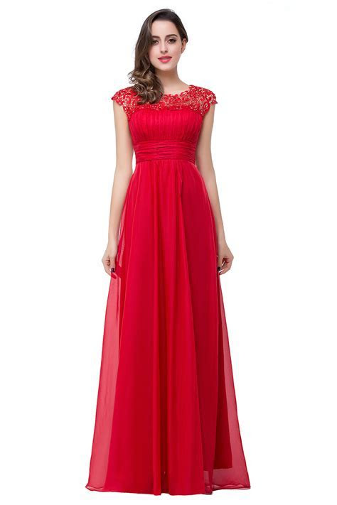 Newest Red Chiffon Lace 2018 Prom Dress Zipper Illusion