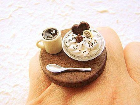 art, coffee, cool, cream, cute, heart, mini, miniatur, miniatura, miniature, ring, special, sweet