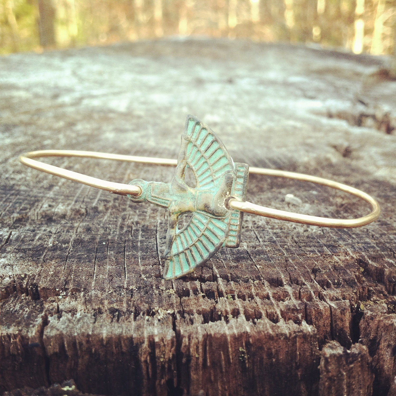 Egyptian Goddess Patina Brass Bangle