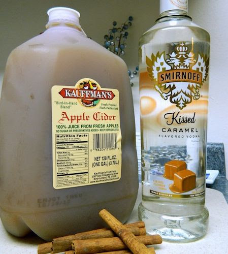 Hot Caramel Apple Cider.        4 mug's worth of apple cider 1 mug's worth of caramel vodka 1 tablespoon cinnamon 1/4 cup brown sugar
