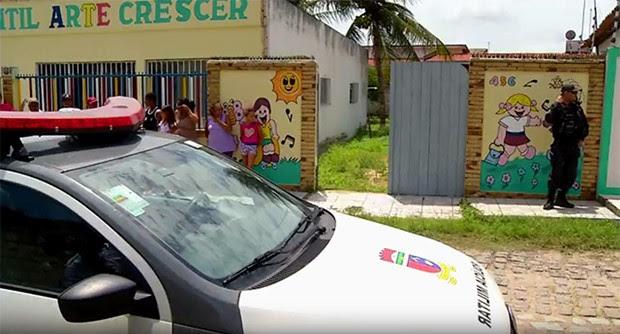 Corpos dos estrangeiros foram encontrados no quintal de uma creche em Ceará-Mirim (Foto: Reprodução/Inter TV Cabugi)