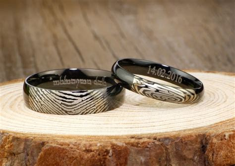 Your Actual Finger Print Rings, His and Her Promise Rings