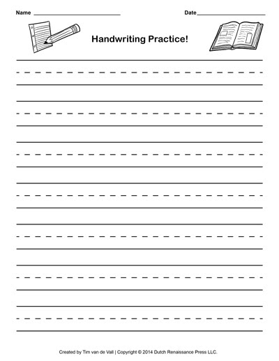 Free Handwriting Practice Paper for Kids | Blank PDF Templates