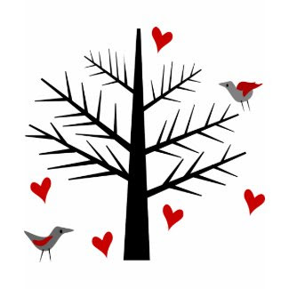 Tree of Love With Hearts And Birds shirt