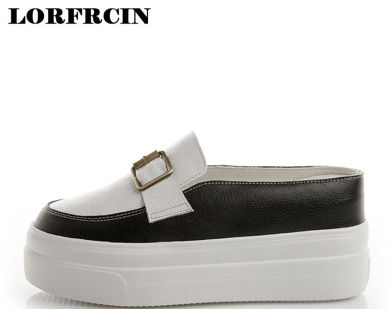 f7b03400e Comprar Plus Size 42 Chinelos De Couro Genuíno Das Mulheres Sapatos  Plataforma Mulher Altura Crescente Casuais Para Tênis Senhoras LORFRCIN  Baratas Online ...