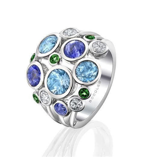 Raindance Large Watercolour Ring. In 18ct white gold with