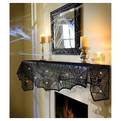 Halloween Midnight Lace Mesh Mantle Scarf - out of stock